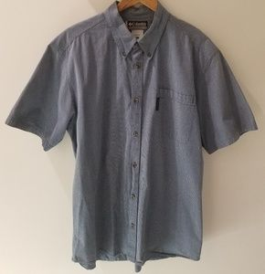 Columbia Blue & White Cotton Checked Shirt (XL)